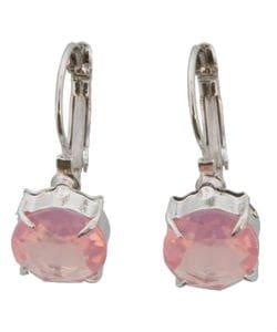 Zilveren oorbel met roze kristal