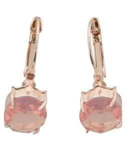 Gouden oorbellen met roze kristallen