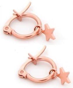 Roze gouden oorbel met ster