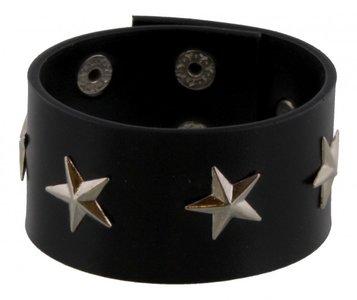 Imitatie lederen zwarte armband met sterren
