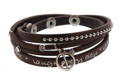 Bruine armband met diamantjes
