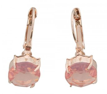Gouden oorbel met roze kristal